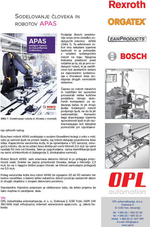 Sodelovnje človeka in robotov APAS